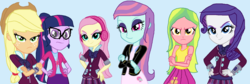 Size: 1851x620 | Tagged: safe, artist:diana173076, applejack, fluttershy, lemon zest, rarity, sci-twi, sunny flare, twilight sparkle, equestria girls, alternate universe, base used, ms paint