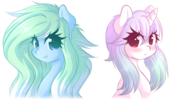 Size: 1280x741 | Tagged: safe, artist:fluffymaiden, oc, oc only, oc:amaranthine sky, oc:reverie, pony, unicorn, blushing, bust, colored pupils, cute, duo, duo female, ear fluff, fangs, female, looking at you, simple background, smiling, snaggletooth, white background