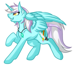 Size: 4200x3792 | Tagged: safe, artist:amazing-artsong, oc, oc only, oc:wind blade, alicorn, pony, absurd resolution, colored pupils, female, gem, jewelry, looking up, mare, necklace, raised hoof, simple background, smiling, solo, spread wings, transparent background