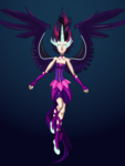 Size: 2916x3888 | Tagged: safe, artist:dinosaurcol, sci-twi, twilight sparkle, human, equestria girls, friendship games, clothes, female, gloves, gradient background, horned humanization, human coloration, humanized, jewelry, light skin, long gloves, midnight sparkle, necklace, pale skin, solo, winged humanization, wings