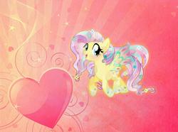 Size: 1600x1188 | Tagged: safe, artist:riofluttershy, artist:theshadowstone, fluttershy, crystal pony, pony, crystallized, female, heart, rainbow power, solo