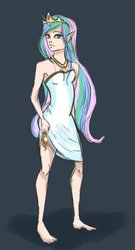 Size: 1024x1894 | Tagged: safe, artist:pwnyxpr3s5, princess celestia, human, barefoot, clothes, dress, elf ears, feet, female, humanized, solo