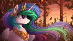 Size: 2500x1407 | Tagged: safe, artist:yakovlev-vad, princess celestia, alicorn, butterfly, pony, bedroom eyes, bust, chest fluff, cute, detailed, ear fluff, female, fluffy, forest, jewelry, lidded eyes, mare, modified accessory, nature, necklace, scenery, smiling, solo, spread wings, wing fluff