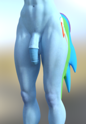 Size: 1120x1610 | Tagged: 3d, abs, anthro, artist:forsaken, balls, belly button, blender, explicit, flaccid, futa, futa rainbow dash, head out of frame, human penis, hybrid penis, intersex, muscles, nudity, penis, rainbow dash, solo, solo futa