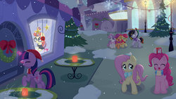 Size: 1600x900   Tagged: safe, artist:musicfirewind, apple bloom, fluttershy, moondancer, pinkie pie, scootaloo, sweetie belle, twilight sparkle, oc, oc:cipher wave, alicorn, pony, cafe, canterlot, caroling, christmas lights, christmas tree, christmas wreath, clothes, cutie mark, cutie mark crusaders, eyes closed, female, filly, hat, music notes, present, santa hat, scarf, singing, smiling, snow, street, the cmc's cutie marks, tree, twilight sparkle (alicorn), walking