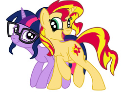 Size: 531x403 | Tagged: safe, artist:squipycheetah, sci-twi, sunset shimmer, twilight sparkle, pony, unicorn, equestria girls, friendship games, cute, equestria girls ponified, female, glasses, lesbian, ponified, ponified humanized pony, scitwishimmer, shimmerbetes, shipping, sunsetsparkle, twiabetes, unicorn sci-twi