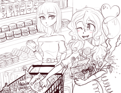 Size: 1300x1000 | Tagged: safe, artist:zorbitas, maud pie, pinkie pie, fanfic:fractured sunlight, equestria girls, balloon, fanfic art, food, grocery store, humanized, monochrome, party supplies, shopping, shopping cart