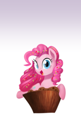 Size: 1024x1571   Tagged: safe, artist:gashiboka, pinkie pie, cupcake, cute, diapinkes, food, lock screen, looking at you, open mouth, smiling, solo, sprinkles, watermark