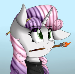 Size: 2069x2033 | Tagged: safe, artist:vanillaghosties, sweetie belle, pony, unicorn, clothes, cute, diasweetes, female, filly, floppy ears, gradient background, hoodie, looking up, mouth hold, paintbrush, pencil, smiling, solo
