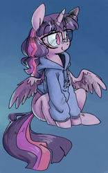 Size: 814x1307   Tagged: safe, artist:php27, twilight sparkle, alicorn, pony, adorkable, alternate hairstyle, blue background, clothes, collaboration, cute, dork, eye clipping through hair, female, glasses, hoodie, mare, ponytail, simple background, smiling, solo, twiabetes, twilight sparkle (alicorn)