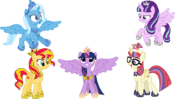 Size: 3771x2145 | Tagged: safe, artist:sketchmcreations, moondancer, starlight glimmer, sunset shimmer, trixie, twilight sparkle, alicorn, pony, alicorn party, alicornified, alternate timeline, alternate universe, counterparts, crown, cute, dancerbetes, diatrixes, everyone is an alicorn, flying, glare, glimmerbetes, grin, magical quartet, magical quintet, magical trio, moondancercorn, new crown, open mouth, race swap, shimmerbetes, shimmercorn, simple background, smiling, smirk, spread wings, squee, starlicorn, this will end in timeline distortion, tiara, transparent background, trixiecorn, twiabetes, twilight sparkle (alicorn), twilight's counterparts, vector, xk-class end-of-the-world scenario
