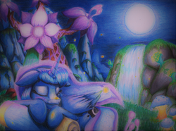 Size: 3375x2515   Tagged: safe, artist:realismcartoon, princess luna, do princesses dream of magic sheep, dream, female, luna's dream, sleeping, solo, surreal, traditional art