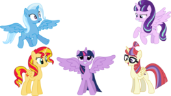 Size: 3771x2130 | Tagged: safe, artist:sketchmcreations, moondancer, starlight glimmer, sunset shimmer, trixie, twilight sparkle, alicorn, pony, alicorn party, alicornified, alternate timeline, counterparts, cute, dancerbetes, diatrixes, everyone is an alicorn, flying, glare, glimmerbetes, grin, magical quartet, magical quintet, magical trio, moondancercorn, open mouth, race swap, shimmerbetes, shimmercorn, simple background, smiling, smirk, spread wings, squee, starlicorn, transparent background, trixiecorn, twiabetes, twilight sparkle (alicorn), twilight's counterparts, vector, xk-class end-of-the-world scenario