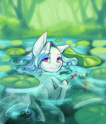 Size: 600x700 | Tagged: safe, artist:cassiel, oc, oc only, fish, koi, pegasus, pony, :t, bedroom eyes, lilypad, looking at you, smiling, solo, spread wings, swimming, water