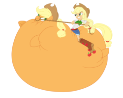 Size: 1280x1024 | Tagged: appleblimp, applejack, artist:darthglacier, balloonie pony, equestria girls, human ponidox, humans riding ponies, inflation, lasso, original species, safe, square crossover