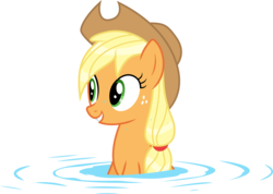 Size: 7026x5000   Tagged: safe, artist:kishmond, applejack, leap of faith, .ai available, absurd resolution, female, simple background, smiling, solo, transparent background, vector, water, wet, wet mane