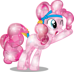 Size: 2548x2501   Tagged: safe, artist:infinitewarlock, pinkie pie, crystal pony, pony, crystallized, female, simple background, solo, transparent background, vector