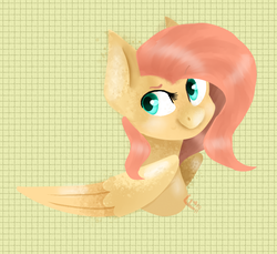 Size: 768x704 | Tagged: safe, artist:frozzie5star, fluttershy, bust, folded wings, graph paper, head turn, lineless, looking at you, portrait, solo