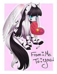 Size: 2550x3300 | Tagged: safe, artist:noodlefreak88, oc, oc only, oc:laura the zony, pegasus, pony, ask, blushing, heart, mlp oc ask blog, solo, tumblr, tumblr blog, valentine's day
