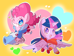 Size: 3200x2400 | Tagged: safe, artist:thegreatrouge, pinkie pie, twilight sparkle, alicorn, pony, chibi, clothes, cosplay, costume, crossover, cute, diapinkes, female, mare, papyrus (undertale), sans (undertale), sans pie, twiabetes, twilight sparkle (alicorn), undertale