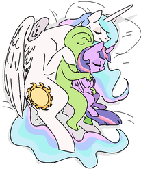 Size: 687x834 | Tagged: safe, artist:nobody, princess celestia, twilight sparkle, oc, oc:anon, alicorn, human, pony, bed, bedsheets, bellyrubs, casual nudity, cuddle puddle, cuddling, cute, eyes closed, female, food, grope, happy, human on pony snuggling, interspecies, lying down, mare, momlestia, nudity, on side, pillow, sandwich, size difference, sleeping, sleeping in the nude, smiling, snuggling, spooning, twilight sparkle (alicorn)