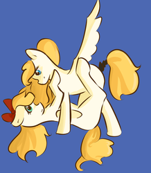 Size: 988x1132 | Tagged: safe, artist:fluffleduckle, oc, oc only, oc:kyrie, oc:luftkrieg, pegasus, pony, aryan, aryan pony, blonde, female, incest, looking at each other, magical lesbian spawn, mare, mother and daughter, nazipone, offspring, parent:oc:aryanne, parent:oc:kyrie, parents:oc x oc, shipping, simple background