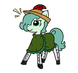 Size: 640x600   Tagged: safe, artist:ficficponyfic, artist:methidman, color edit, edit, oc, oc only, oc:emerald jewel, earth pony, pony, colt quest, alternate color palette, boots, child, clothes, color, colored, colt, crossdressing, feather, femboy, foal, hat, leggings, male, proud, trap, young
