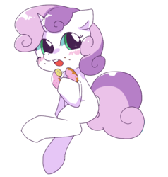 Size: 848x892 | Tagged: safe, artist:monon0, sweetie belle, bread, cute, diasweetes, donut, eating, female, food, open mouth, simple background, solo, weapons-grade cute, white background