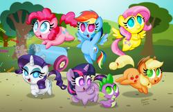 Size: 1280x828 | Tagged: safe, artist:aleximusprime, applejack, fluttershy, pinkie pie, rainbow dash, rarity, spike, twilight sparkle, alicorn, dragon, earth pony, pegasus, pony, unicorn, bahy dragon, chibi, confetti, cute, cutie mark, dashabetes, diapinkes, female, jackabetes, male, mane seven, mane six, mare, no pupils, party cannon, plot, raribetes, shyabetes, signature, spikabetes, twiabetes, twilight sparkle (alicorn)