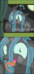 Size: 2388x5086 | Tagged: adoracreepy, against glass, artist:badumsquish, bronybait, changeling, changeling queen, creepy, curtain, cute, derpibooru exclusive, dialogue, drool, dude let me in, fairy, fangs, female, frog (hoof), glass, i'm a fairy, impossibly long tongue, licking, looking at you, meme, moon, night, open mouth, queen chrysalis, safe, seems legit, smiling, talking to viewer, tongue out, underhoof, wide eyes, window, window licking
