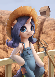 Size: 1024x1449 | Tagged: dead source, safe, artist:maggwai, rarity, pony, unicorn, simple ways, barn, bipedal, bipedal leaning, farmer, female, fence, field, hat, mare, overalls, pitchfork, rarihick, scenery, solo, straw hat