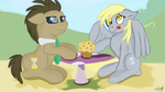 Size: 1280x720 | Tagged: artist:jbond, derpy hooves, doctor whooves, female, food, mare, muffin, pegasus, pony, safe