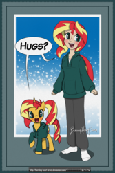 Size: 2100x3150 | Tagged: artist:burning-heart-brony, blushing, bronybait, clothes, cute, freckles, hoodie, hug request, human, humanized, human ponidox, pony, safe, shimmerbetes, sunset shimmer, unicorn
