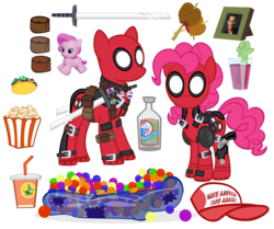 Size: 2500x2087 | Tagged: artist:pixelkitties, ball pit, clothes, costume, dashcon, deadpool, food, green lantern, gummy, gun, hat, pinkie pie, pinkiepool, pinkiepool (pairing), playskool, playskool friends, safe, simple background, solo, sword, taco, taco bell, transparent background, vector, weapon