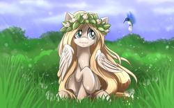 Size: 2520x1575 | Tagged: safe, artist:malifikyse, oc, oc only, oc:cuddle prancer, bird, hummingbird, dandelion, floral head wreath, flower, grass, raised hoof, sitting, solo, wreath