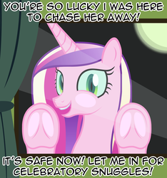 Size: 2368x2528 | Tagged: adoracreepy, against glass, alicorn, artist:badumsquish, blatant lies, bronybait, changeling, changeling queen, creepy, curtain, cute, derpibooru exclusive, dialogue, disguise, disguised changeling, dude let me in, fake cadance, female, frog (hoof), glass, it's a trap, looking at you, moon, night, open mouth, princess cadance, queen chrysalis, safe, seems legit, solo, talking to viewer, underhoof, window