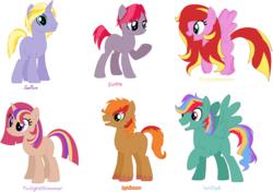 Size: 1263x888 | Tagged: safe, artist:derpyna, artist:selenaede, base used, magical lesbian spawn, offspring, parent:applejack, parent:fluttershy, parent:pinkie pie, parent:rainbow dash, parent:rarity, parent:sunset shimmer, parent:twilight sparkle, parents:appleshimmer, parents:sunsarity, parents:sunsetdash, parents:sunsetpie, parents:sunsetsparkle, parents:sunshyne, sunset shimmer gets all the mares