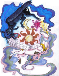 Size: 803x1040 | Tagged: safe, artist:patsuko, princess celestia, princess luna, realistic, traditional art, yin-yang