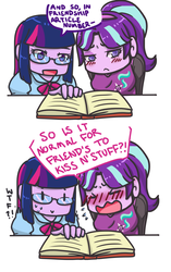 Size: 940x1500 | Tagged: safe, artist:maxgabbymeow, starlight glimmer, twilight sparkle, equestria girls, blushing, book, equestria girls-ified, female, glasses, lesbian, shipping, sweat, twilight sparkle (alicorn), twistarlight