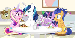 Size: 1240x640 | Tagged: safe, artist:dm29, donut joe, flash sentry, princess cadance, shining armor, spike, twilight sparkle, alicorn, dragon, pegasus, pony, unicorn, eating, female, food, ice cream, mare, sitting, smiling, table, twilight sparkle (alicorn), waffle