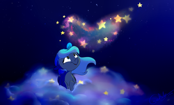 Size: 1024x618 | Tagged: safe, artist:rutkotka, princess luna, cloud, heart, magic, night, prone, solo, stars