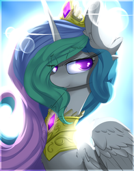 Size: 2000x2550 | Tagged: safe, artist:madacon, princess celestia, alicorn, pony, backlighting, crepuscular rays, female, lens flare, mare, smiling, solo