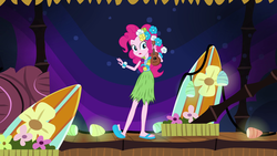 Size: 1280x720 | Tagged: safe, screencap, pinkie pie, equestria girls, shake your tail, clothes, feet, female, grass skirt, hula, hulapie, sandals, skirt