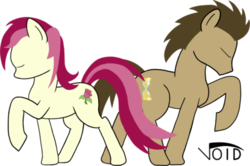 Size: 400x265   Tagged: safe, artist:voidsythe, doctor whooves, roseluck, time turner, pony, doctorrose, male, shipping, stallion, straight
