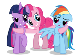 Size: 1054x757 | Tagged: safe, edit, pinkie pie, rainbow dash, twilight sparkle, floppy ears, hoof around neck, hug, long legs, polyamory, simple background, transparent background, twidashpie, vector