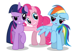 Size: 1054x757 | Tagged: artist needed, episode needed, floppy ears, pinkie pie, polyamory, rainbow dash, safe, simple background, transparent background, twidashpie, twilight sparkle, vector