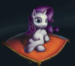 Size: 1024x902   Tagged: safe, artist:draconidsmxz, rarity, pony, unicorn, female, looking at you, pillow, prone, solo