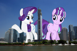 Size: 2250x1500   Tagged: safe, artist:php148, artist:reginault, artist:theotterpony, rarity, starlight glimmer, pony, china, city, giant pony, giant starlight glimmer, giantess, guangzhou, irl, macro, mega rarity, photo, ponies in real life, story included, vector