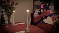 Size: 1920x1080 | Tagged: safe, artist:plushwaifus, photographer:corpulentbrony, /mlp/, 4chan, anonymous, candle, candlelight, champagne, chocolate, chocolates, corpulent brony, flower, food, hearts and hooves day, irl, life size, photo, plushie, present, rose, valentine, valentine's day, waifu, waifu dinner