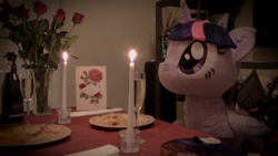 Size: 1920x1080 | Tagged: safe, artist:plushwaifus, photographer:corpulentbrony, /mlp/, 4chan, candle, candlelight, champagne, chocolate, chocolates, corpulent brony, flower, food, forever alone, hearts and hooves day, irl, life size, meme, pasta, photo, plushie, present, rose, spaghetti, spaghetti scene, valentine, valentine card, valentine's day, waifu, waifu dinner